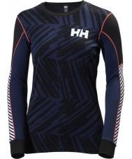 Helly Hansen 48462-689-XS レディースアクティブフローグラフィックブルーベースレイヤー - サイズXS