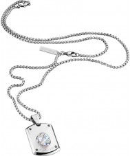 Police 25552PSS-01 スワロフスキークリスタル付きメンズのクリスタルヘッド銀鋼のネックレス