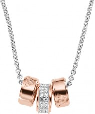 Emporio Armani EG3045040 レディース署名は銀ロロチェーンとゴールドのネックレスをバラ