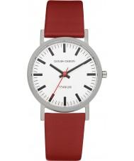 Danish Design Q19Q199 メンズ赤い革ストラップの時計