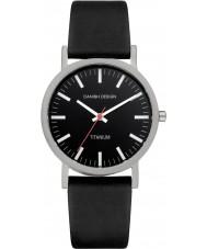 Danish Design Q13Q199 ブラックレザーストラップの腕時計メンズ