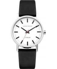 Danish Design Q12Q199 ブラックレザーストラップの腕時計メンズ